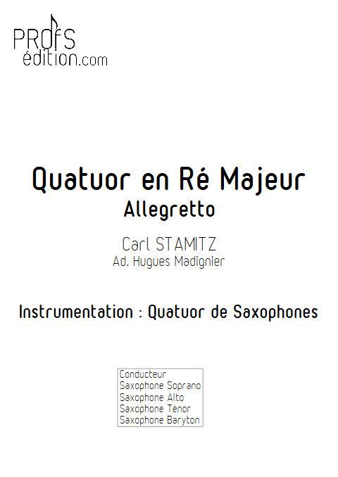 Quatuor en Ré Majeur - Quatuor Saxophones - STAMITZ C. - page de garde