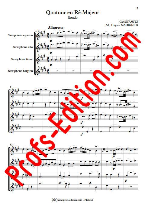 Quatuor en Ré Majeur - Quatuor Saxophones - STAMITZ C. - Partition