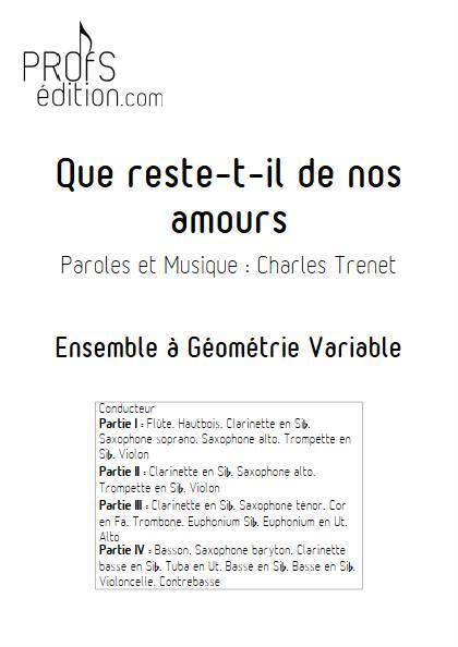 Que reste-t-il de nos amours - Ensemble Variable - TRENET C. - page de garde