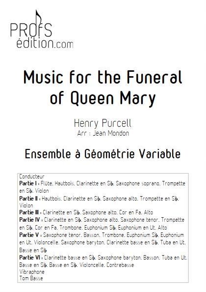 Queen's funeral march - Ensemble Variable - PURCELL H. - page de garde