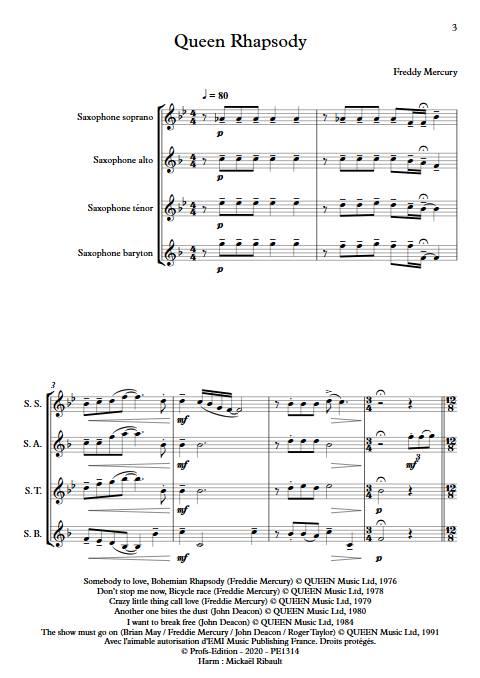 Queen Rhapsody - Quatuor de Saxophones - QUEEN - app.scorescoreTitle