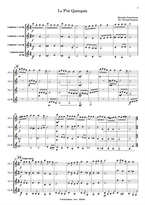 Le P'tit Quinquin - Quatuor de Clarinettes - DEQUEANT B. - Partition