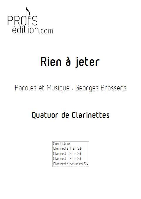 Rien à jeter - Quatuor de Clarinettes - BRASSENS G. - page de garde