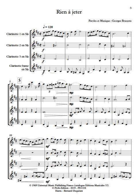 Rien à jeter - Quatuor de Clarinettes - BRASSENS G. - Partition