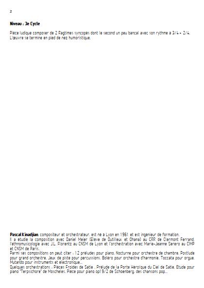 Ragtime - Quintette à vents - KINADJIAN P. - Fiche Pédagogique