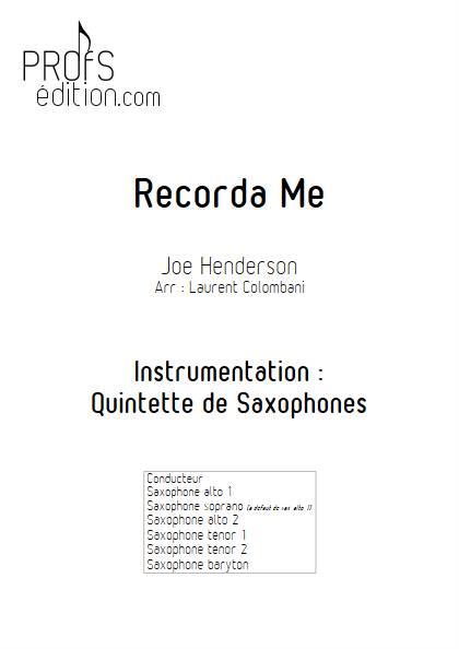 Recorda me - Quintette de Saxophone - HENDERSON J. - page de garde