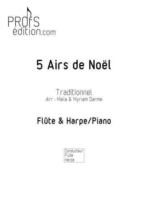 5 Airs de Noël - Flûte é Harpe/Piano - Traditionnel - page de garde