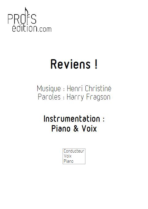Reviens - Piano & Voix - CHRISTINE H. - page de garde