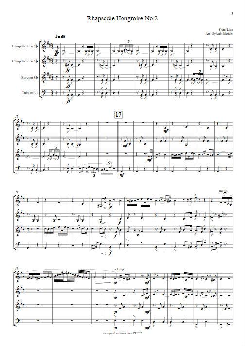 Rhapsodie Hongroise N°2 - Quatuor Cuivres - LISZT F. - Partition
