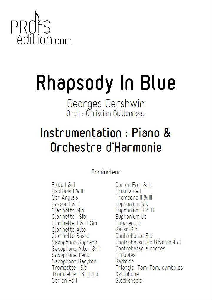 Rhapsody In Blue - Orchestre Harmonie - GERSHWIN G. - page de garde