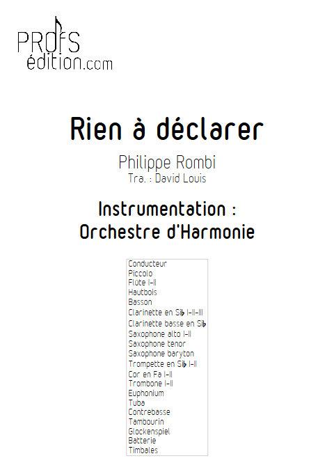 Rien à Déclarer - Orchestre d'Harmonie - ROMBI P. - page de garde