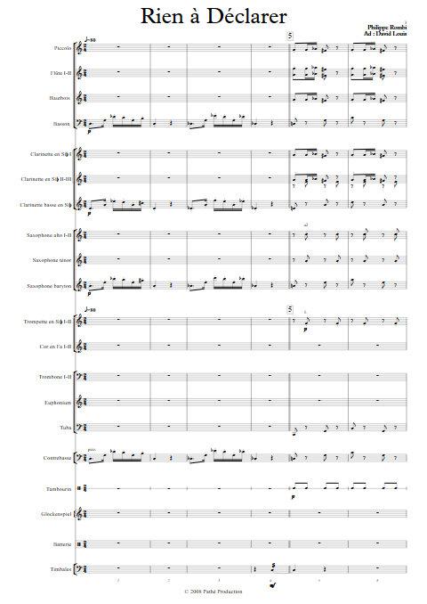 Rien à Déclarer - Orchestre d'Harmonie - ROMBI P. - Partition