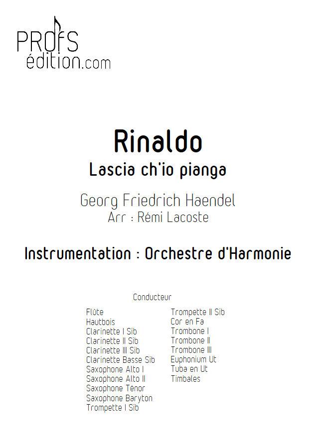 Rinaldo, Lascia ch'io pianga - Orchestre Harmonie - HAENDEL G. F. - page de garde