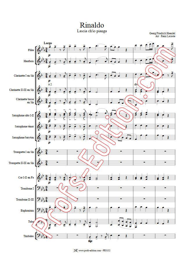 Rinaldo, Lascia ch'io pianga - Orchestre Harmonie - HAENDEL G. F. - Fiche Pédagogique