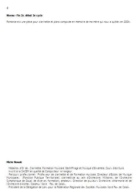 Romance pour clarinette - Clarinette & Piano - NOWAK M. - Fiche Pédagogique