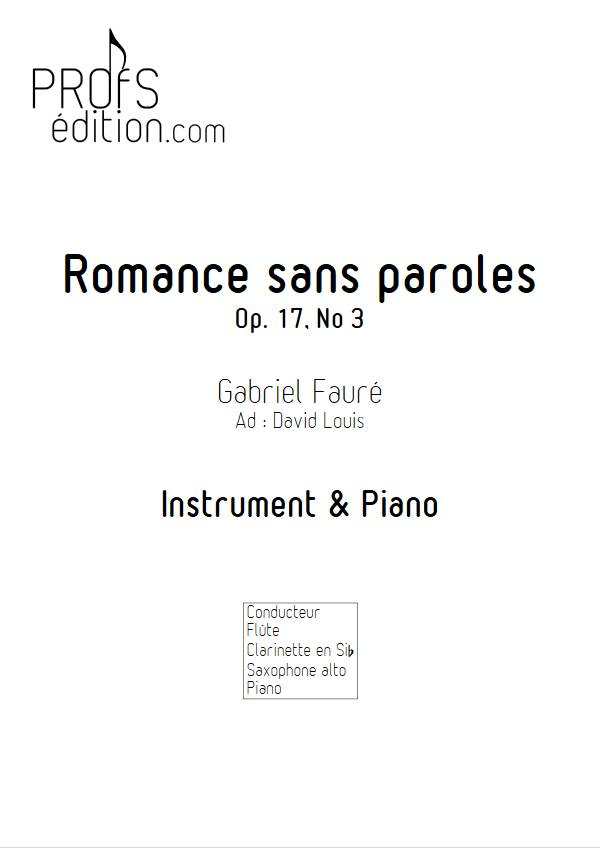 Romance sans paroles - Instrument & Piano - FAURE G. - page de garde