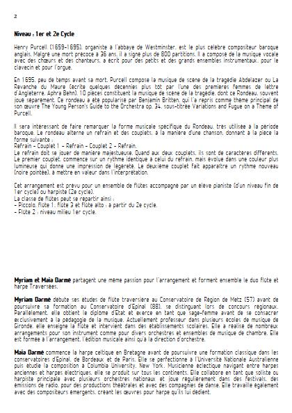 Rondeau - Ensemble de Flûtes - TRADITIONNEL - Fiche Pédagogique