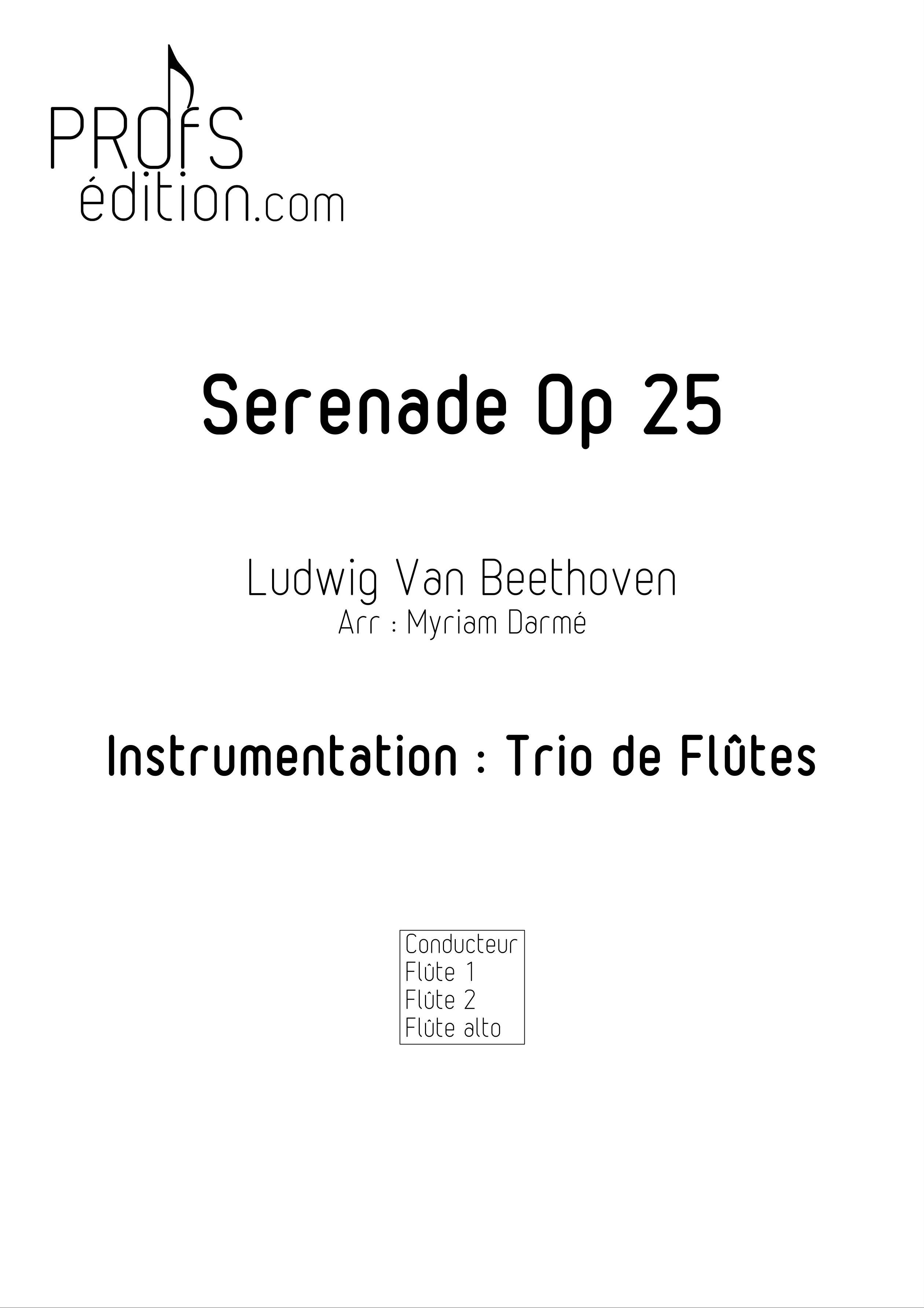 Serenade Op 25 - Trio de Flûtes - BEETHOVEN L. V. - page de garde