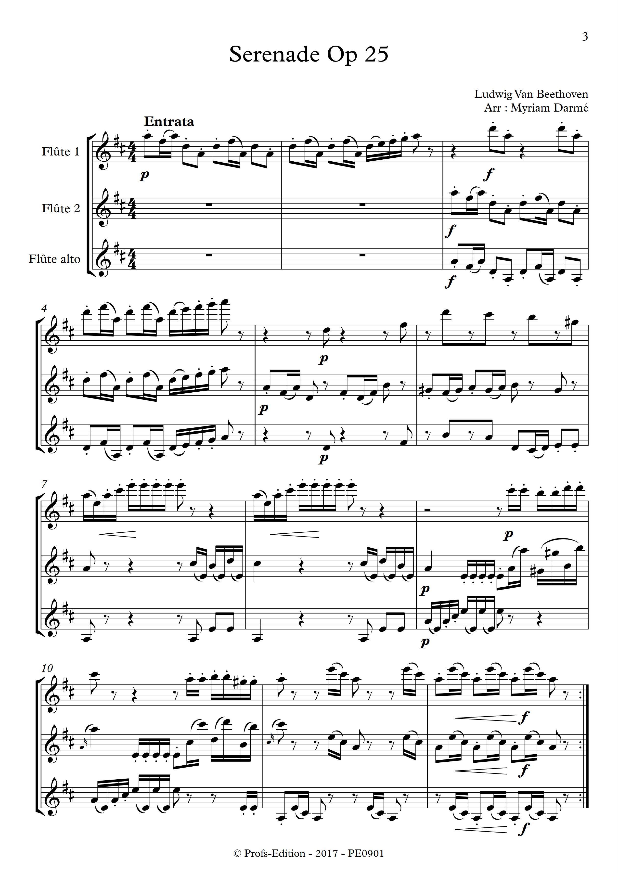 Serenade Op 25 - Trio de Flûtes - BEETHOVEN L. V. - Partition