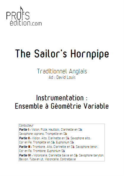Sailor Hornpipe - Ensemble à Géométrie Variable - TRADITIONNEL ANGLAIS - page de garde