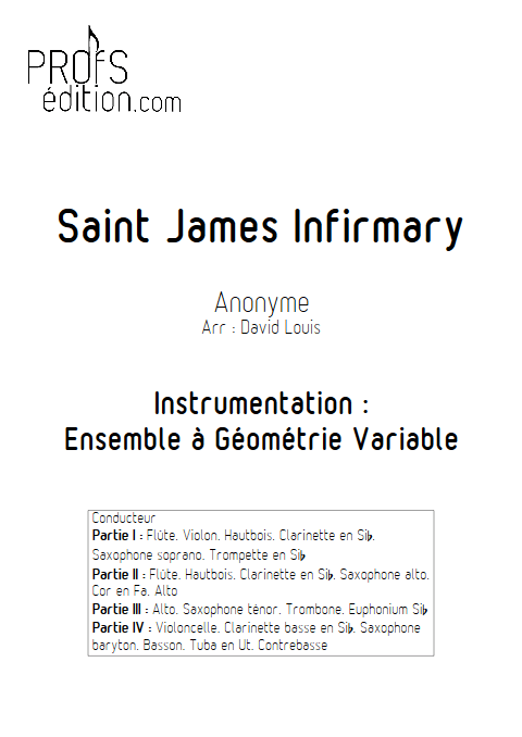 Saint James Infirmary - Ensemble à Géométrie Variable - ANONYME - page de garde
