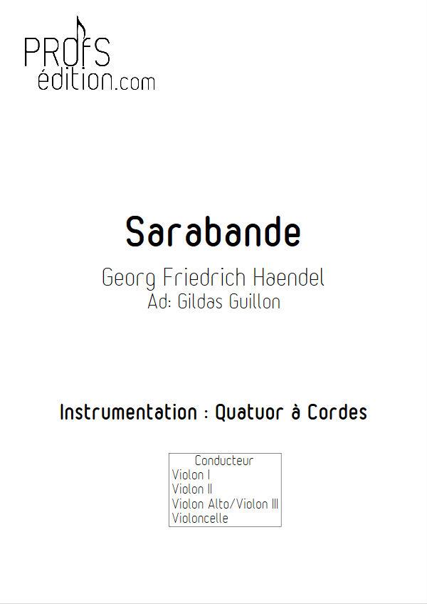 Sarabande (à la blanche) - Quatuor à Cordes - HAENDEL G. F. - page de garde