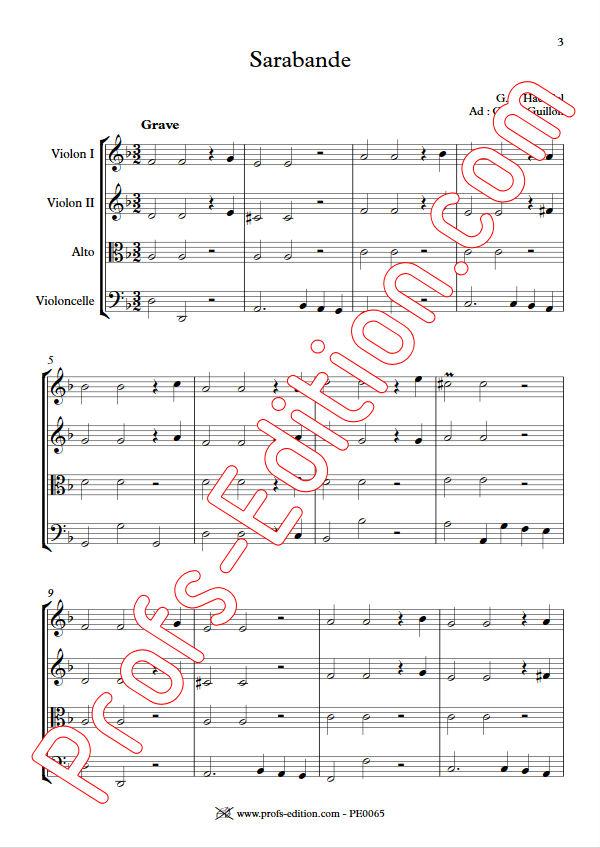 Sarabande (à la blanche) - Quatuor à Cordes - HAENDEL G. F. - Partition