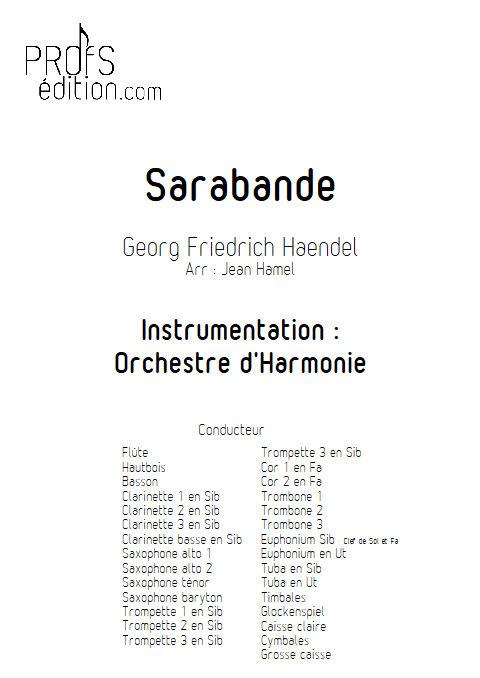 Sarabande - Orchestre d'Harmonie - HAENDEL G. F. - page de garde