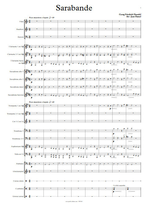 Sarabande - Orchestre d'Harmonie - HAENDEL G. F. - Partition