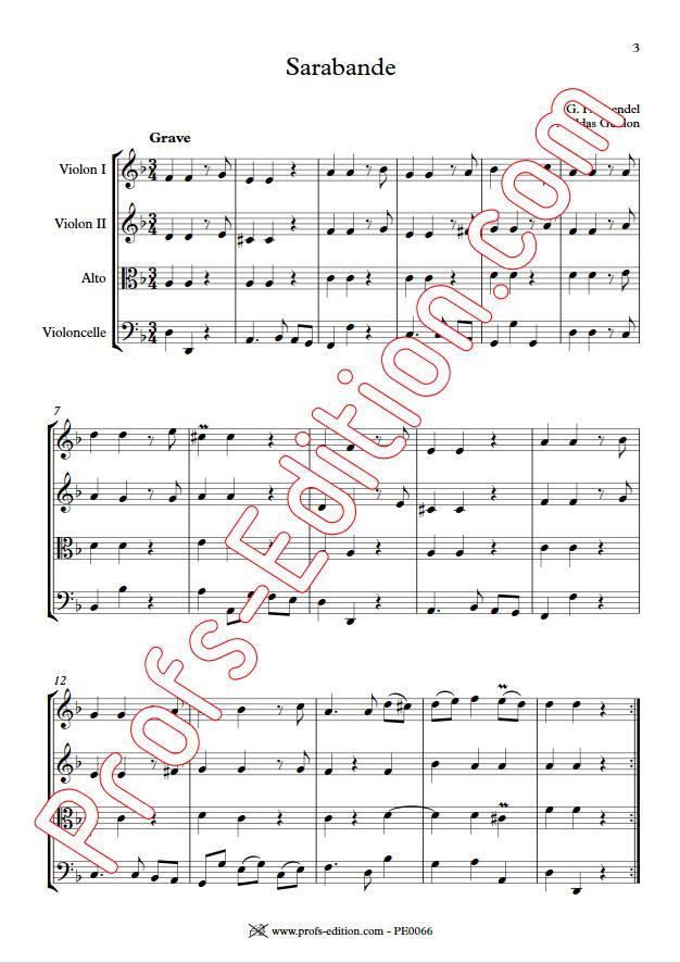 Sarabande (à la noire) - Quatuor à Cordes - HAENDEL G. F. - app.scorescoreTitle