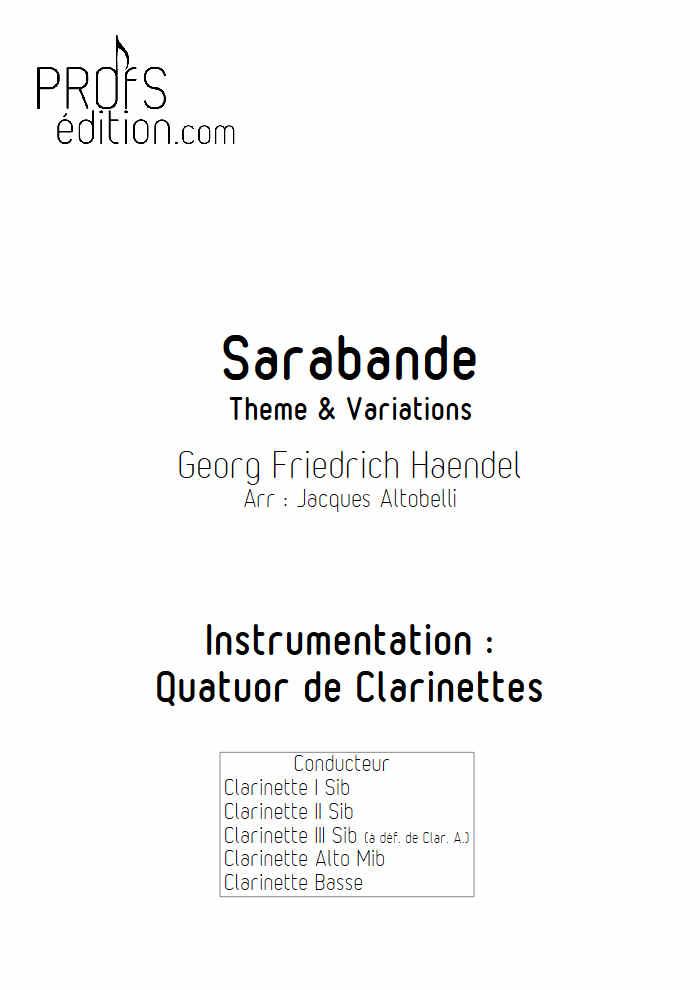 Sarabande - Quatuor de Clarinettes - HAENDEL G. F. - page de garde