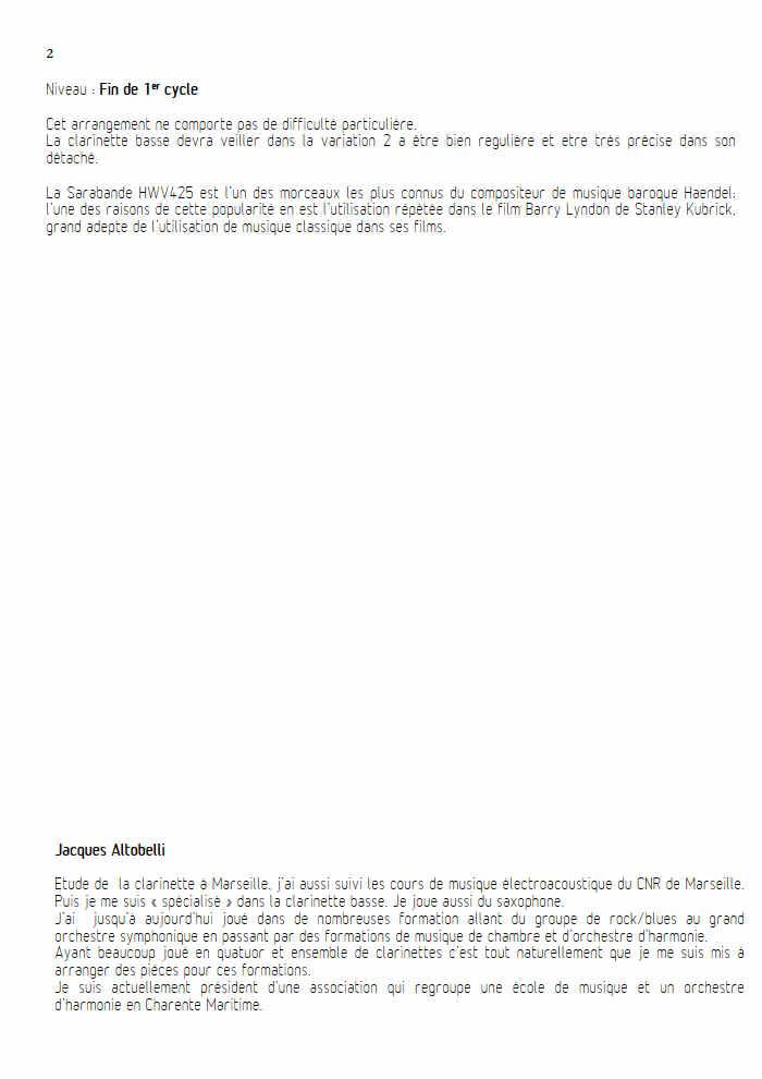 Sarabande - Quatuor de Clarinettes - HAENDEL G. F. - Fiche Pédagogique