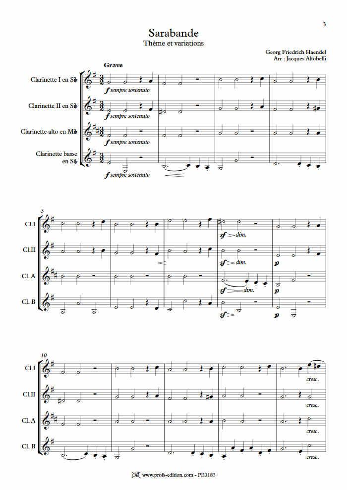 Sarabande - Quatuor de Clarinettes - HAENDEL G. F. - app.scorescoreTitle