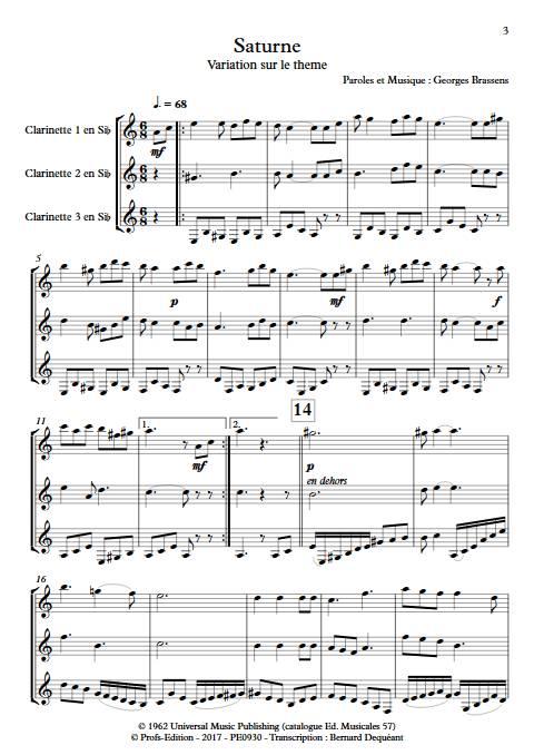 Saturne - Trio de Clarinettes - BRASSENS G. - app.scorescoreTitle