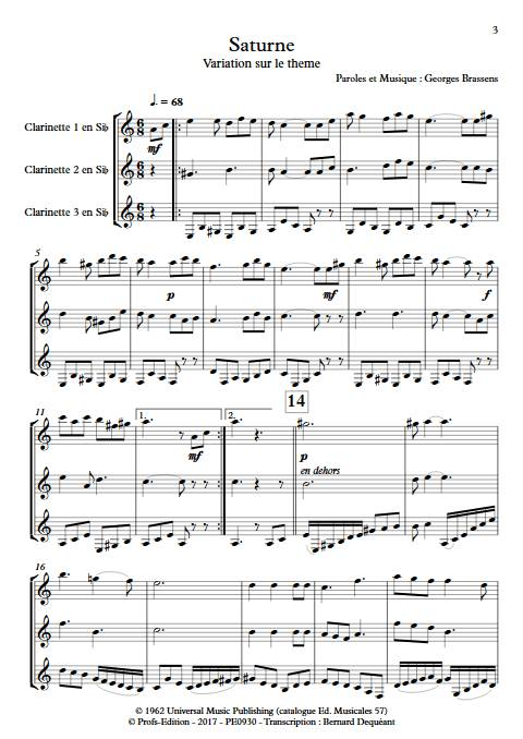 Saturne - Trio de Clarinettes - BRASSENS G. - Partition