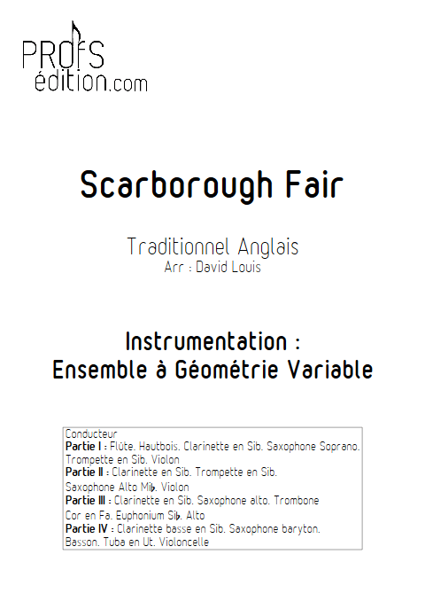 Scarborough Fair - Ensemble à Géométrie Variable - TRADITIONNEL - page de garde