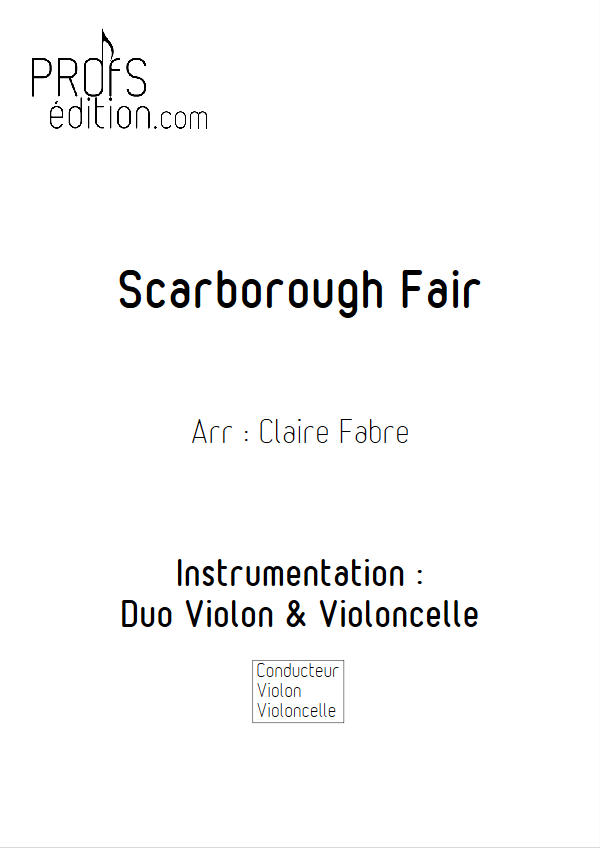 Scarborough Fair - Duo Violon Violoncelle - ANONYME - page de garde