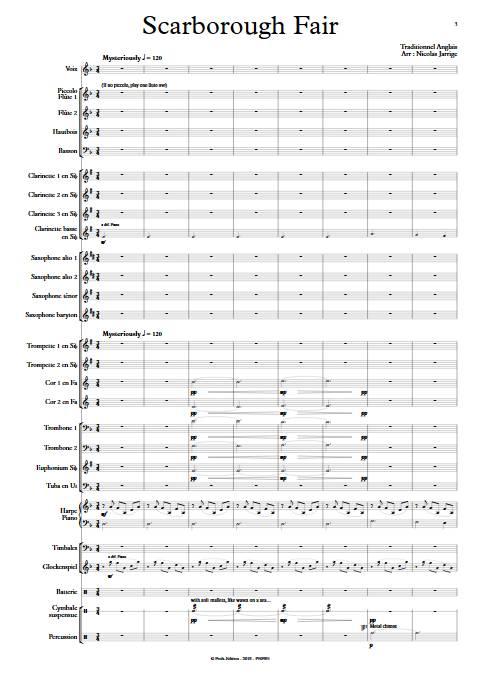 Scarborough Fair - Orchestre d'Harmonie - TRADITIONNEL ANGLAIS - Partition