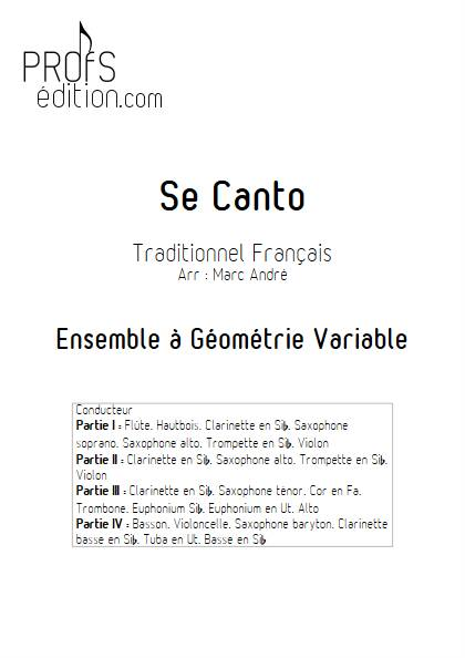 Se Canto - Ensemble Variable - TRADITIONNEL FRANCAIS - page de garde