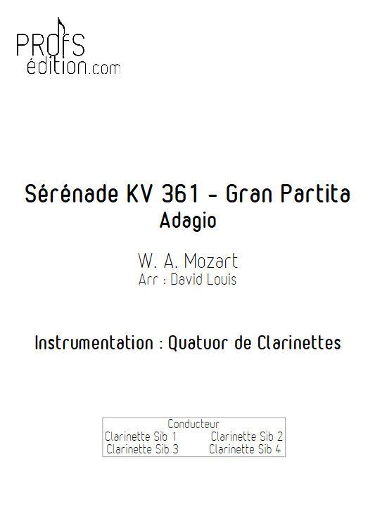 Sérénade KV 361 - Quatuor de Clarinettes - MOZART W. A. - page de garde