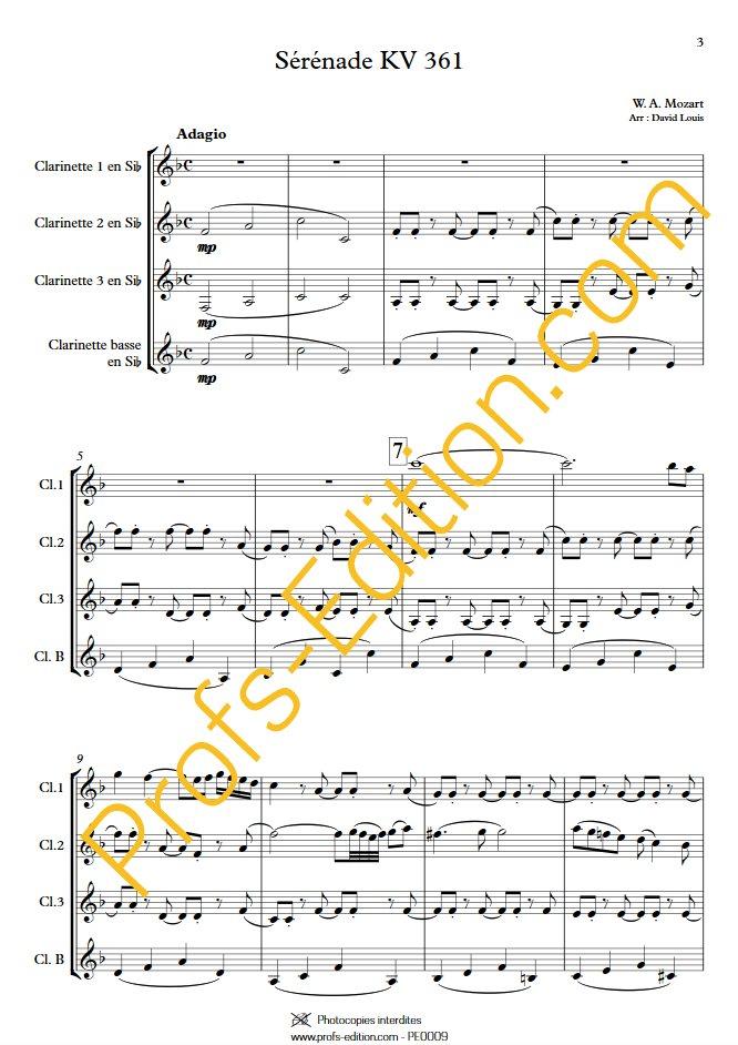 Sérénade KV 361 - Quatuor de Clarinettes - MOZART W. A. - Partition