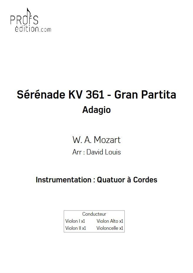 Sérénade KV 361 - Quatuor à Cordes - MOZART W. A. - page de garde
