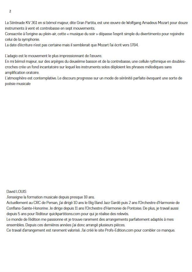 Sérénade KV 361 - Quatuor à Cordes - MOZART W. A. - Fiche Pédagogique
