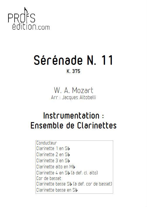 Sérénade KV 375 - Ensemble de Clarinettes - MOZART W. A. - page de garde