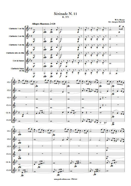 Sérénade KV 375 - Ensemble de Clarinettes - MOZART W. A. - Fiche Pédagogique