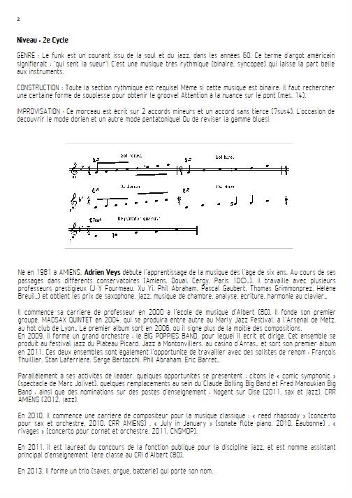 Shake Up - Quatuor de Clarinettes - VEYS A. - Fiche Pédagogique