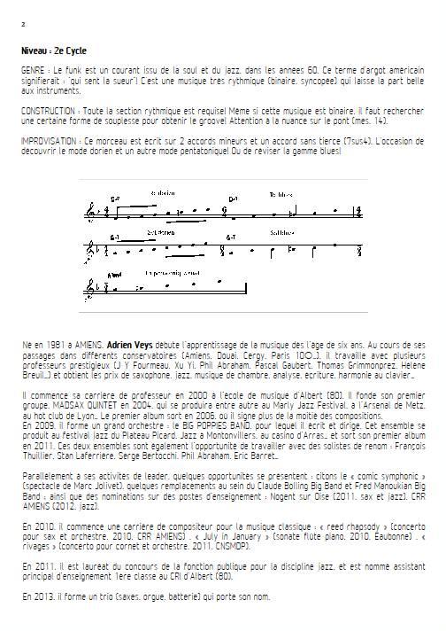 Shake Up - Quatuor de Saxophones - VEYS A. - Fiche Pédagogique