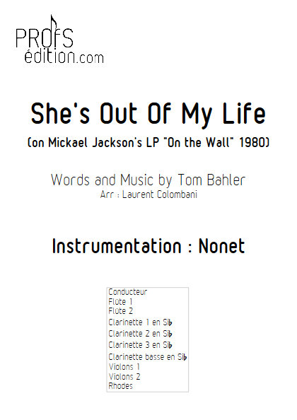 She's Out Of My Life - Nonet - BAHLER T. - page de garde