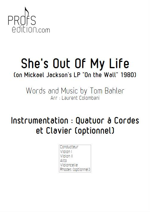She's Out Of My Life - Quatuor à cordes - BAHLER T. - page de garde