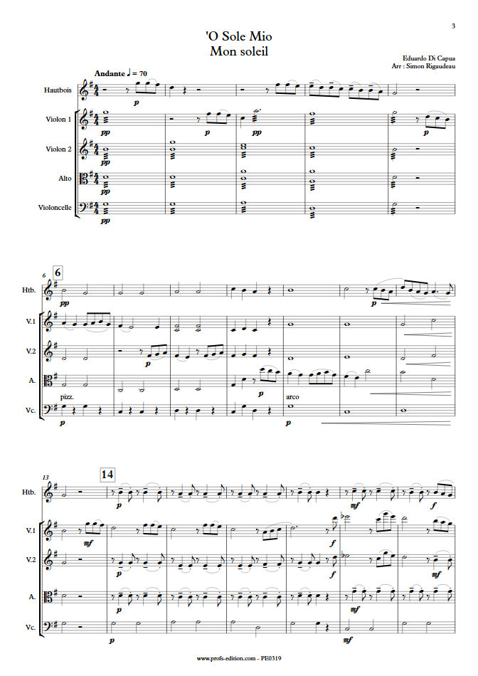 O Sole Mio - Hautbois et Quatuor à Cordes - Di CAPUA E. - Partition